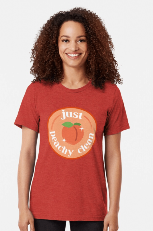 Peachy Clean Savvy Cleaner Funny Cleaning Shirts Triblend Tee
