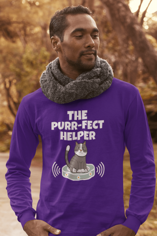 Purr-fect Helper Savvy Cleaner Funny Cleaning Shirts Classic Long Sleeve Tee