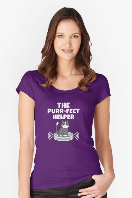 Purr-fect Helper Savvy Cleaner Funny Cleaning Shirts Fitted Scoop Tee