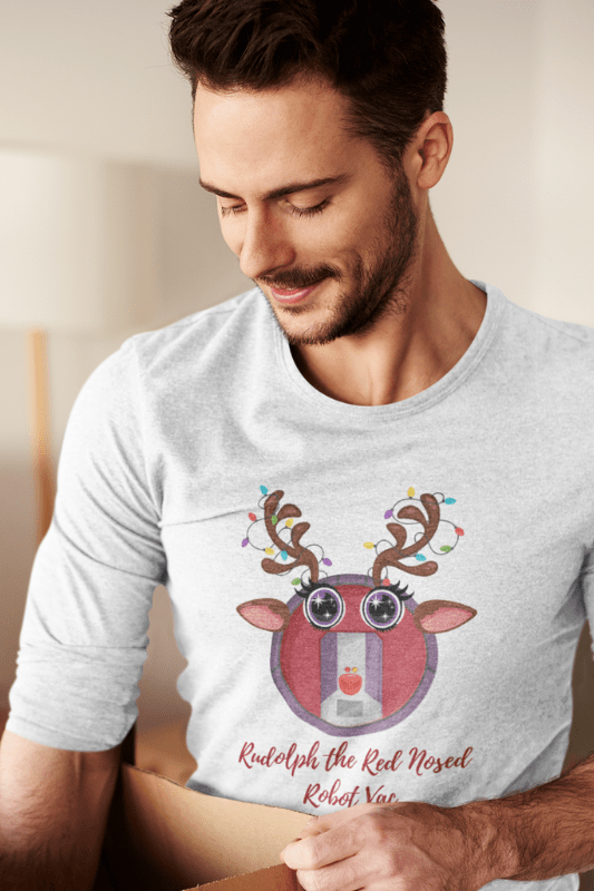 Rudolph the Red Nosed Robot Vac, Savvy Cleaner Funny Cleaning Shirts, Premium Long Sleeve T-Shirt
