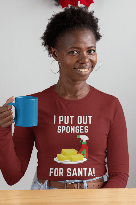 Sponges for Santa, Savvy Cleaner Funny Cleaning Shirts, Women's Flowy Long Sleeve T-Shirt