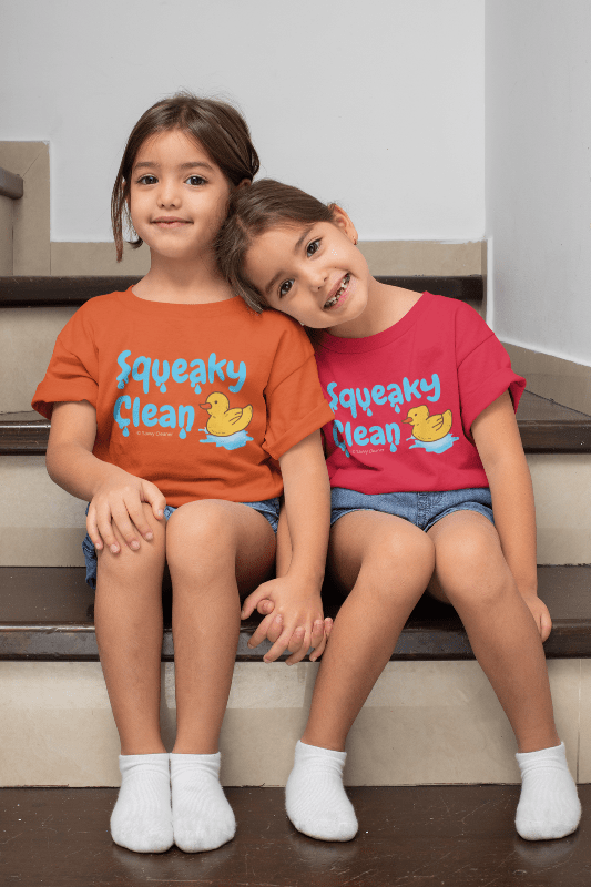 Squeaky Clean, Savvy Cleaner Kids T-Shirt, Two Girl on Steps