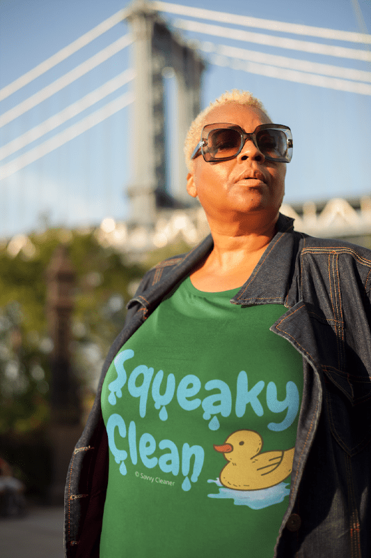Squeaky Clean, Savvy Cleaner T-Shirt, Woman in Green