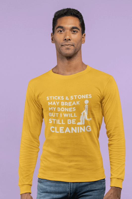 Sticks and Stones, Savvy Cleaner Funny Cleaning Shirts, Classic Long Sleeve T-Shirt