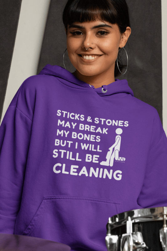 Sticks and Stones, Savvy Cleaner Funny Cleaning Shirts, Classic Pullover Hoodie