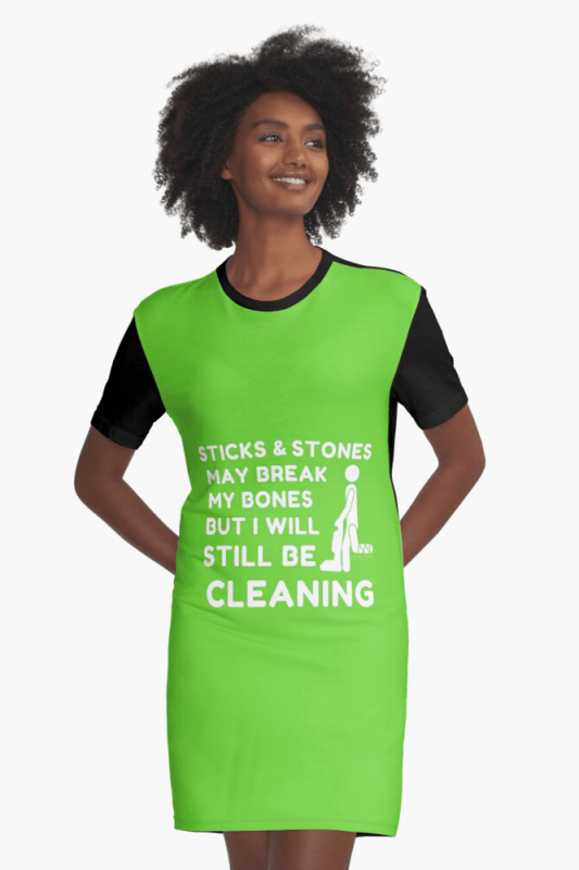 Sticks and Stones, Savvy Cleaner Funny Cleaning Shirts, Graphic Dress