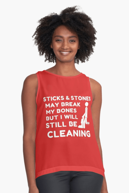 Sticks and Stones Savvy Cleaner Funny Cleaning Shirts Sleeveless Top