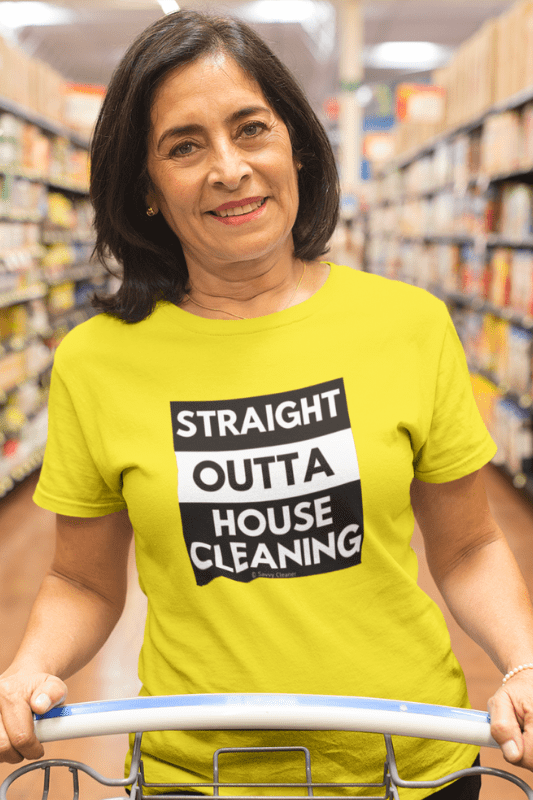 Straight Outta House Cleaning, Savvy Cleaner Funny Cleaning Shirts, Womens Classic T-Shirt