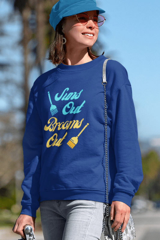 Suns Out Brooms Out, Savvy Cleaner Funny Cleaning Shirts, Classic Crewneck Sweatshirt