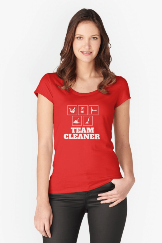 Team Cleaner Savvy Cleaner Funny Cleaning Shirts Fitted Scoop T-Shirt