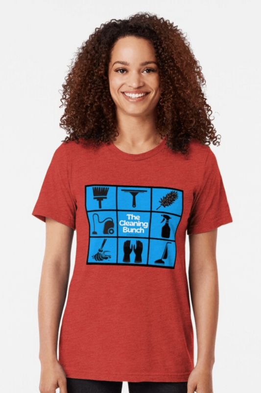 The Cleaning Bunch Savvy Cleaner Funny Cleaning Shirts Tri-Blend T-Shirt
