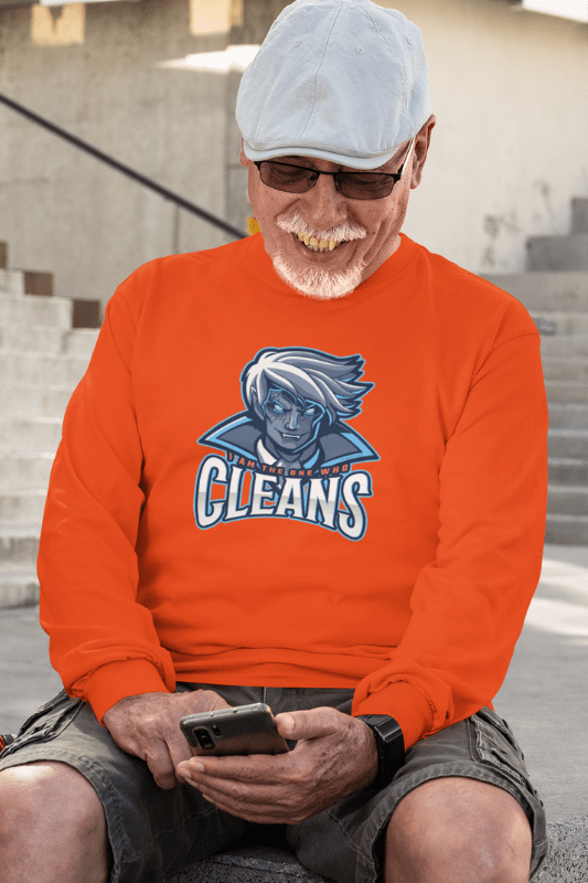 The One Who Cleans, Savvy Cleaner Funny Cleaning Shirts, Classic Long Sleeve T-Shirt