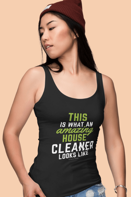 This Amazing House, Savvy Cleaner Funny Cleaning Shirts, Women's Fitted Tank Top