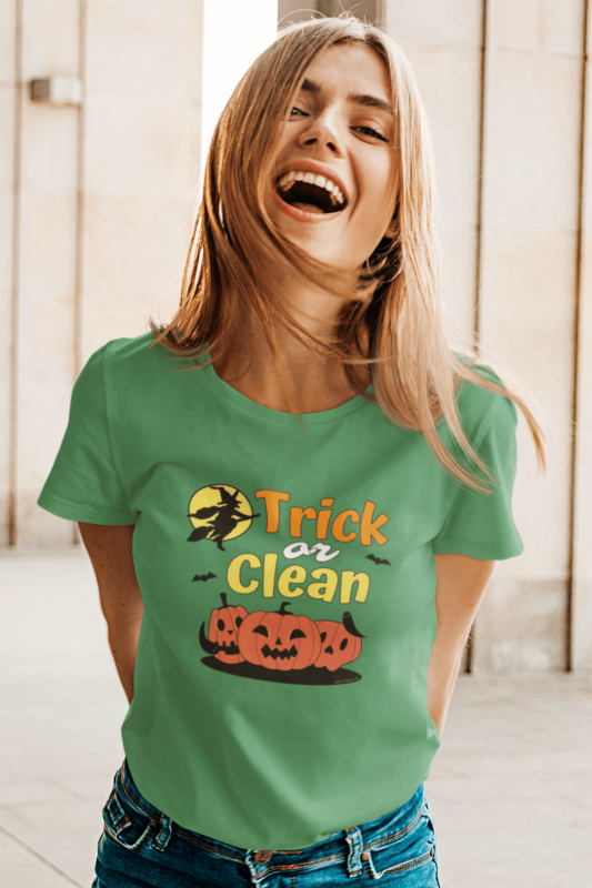 Trick or Clean Savvy Cleaner Funny Cleaning Shirts Women's Standard T-Shirt