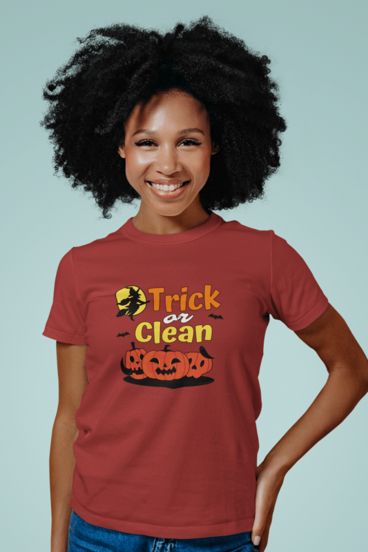 Trick or Clean Savvy Cleaner Funny Cleaning Shirts Women's Standard Tee