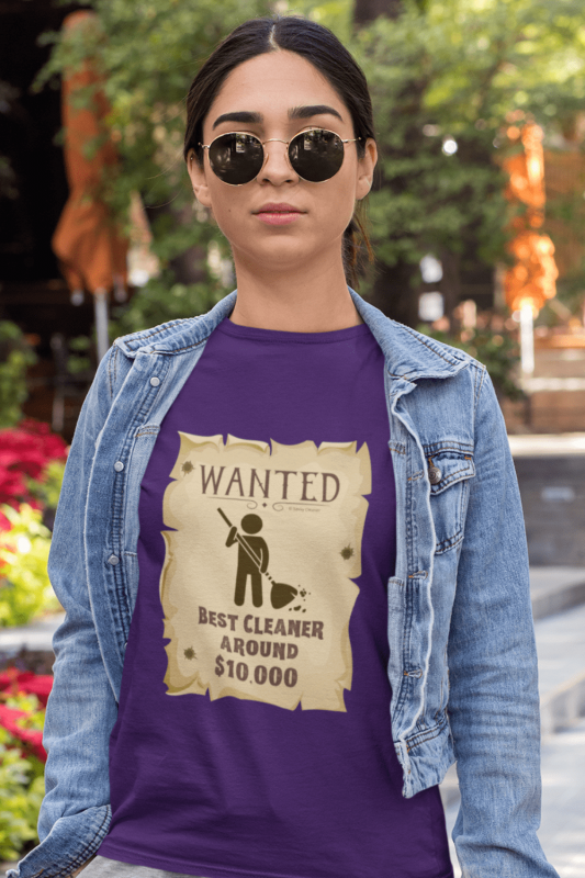 Wanted Poster Savvy Cleaner Funny Cleaning Shirts Women's Purple Standard T-Shirt
