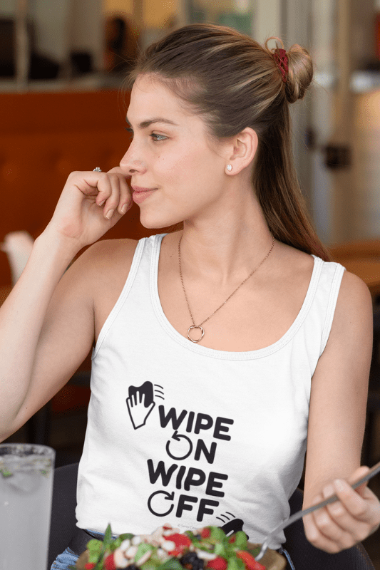 Wipe On Wipe Off, Savvy Cleaner Funny Cleaning Shirts, Women's Fitted Tank Top